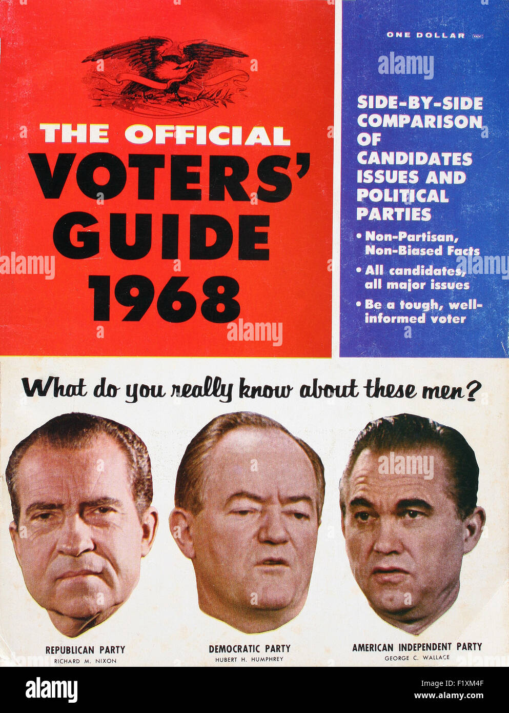 1968 U.S. Presidential Voters Guide showing portraits of Richard M. Nixon, Hubert H. Humphrey, and George C. Wallace - Stock Image