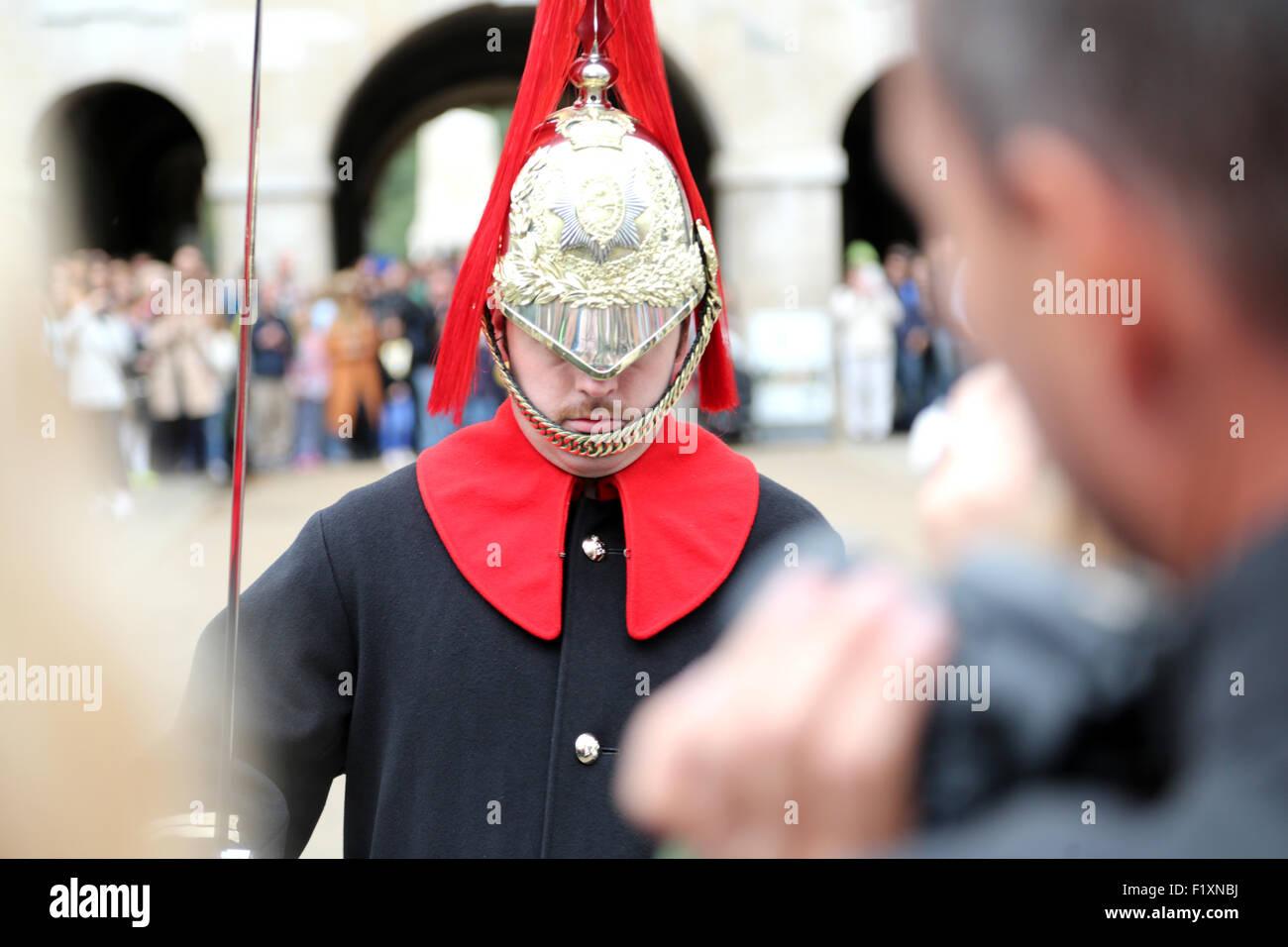 A member of the Queens lifeguard during the changing of the guard at Horse guards Parade Stock Photo