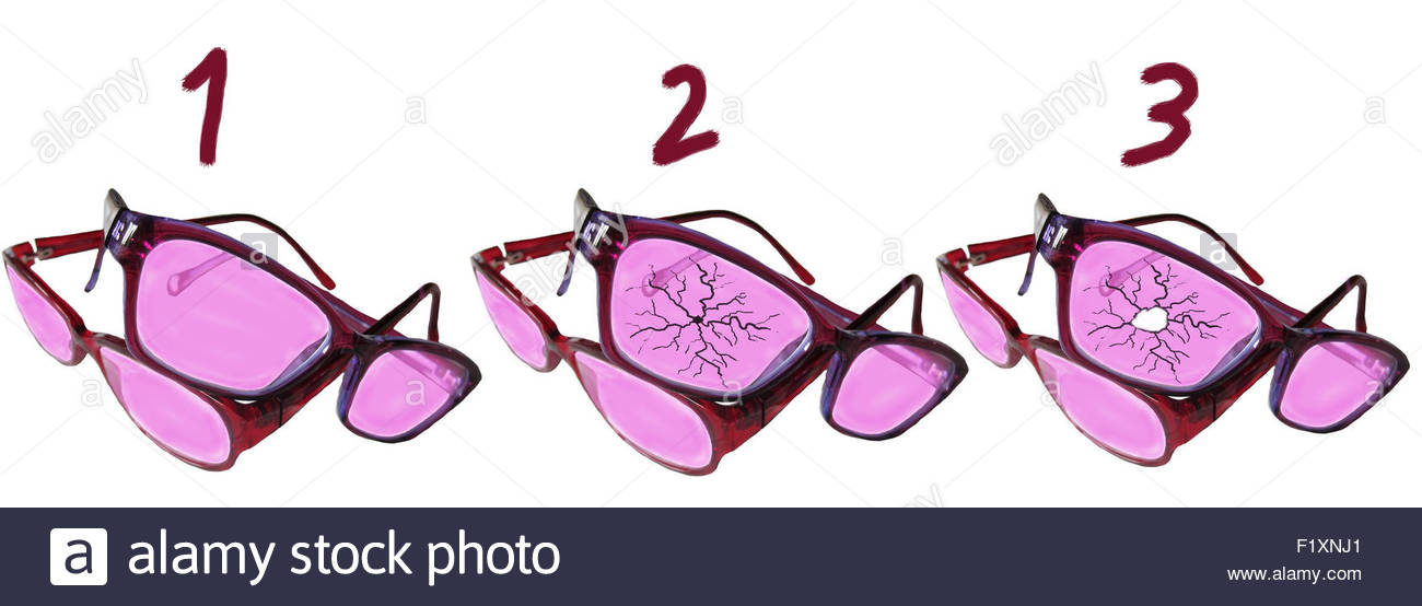 Rosarote Brillen - rose-coloured glasses Stock Photo