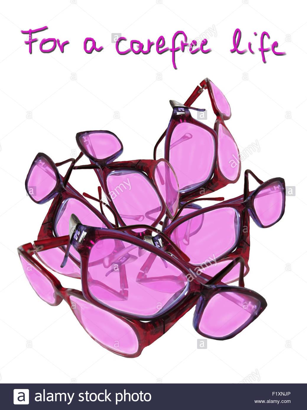 Rosarote Brillen - rose coloured glasses Stock Photo