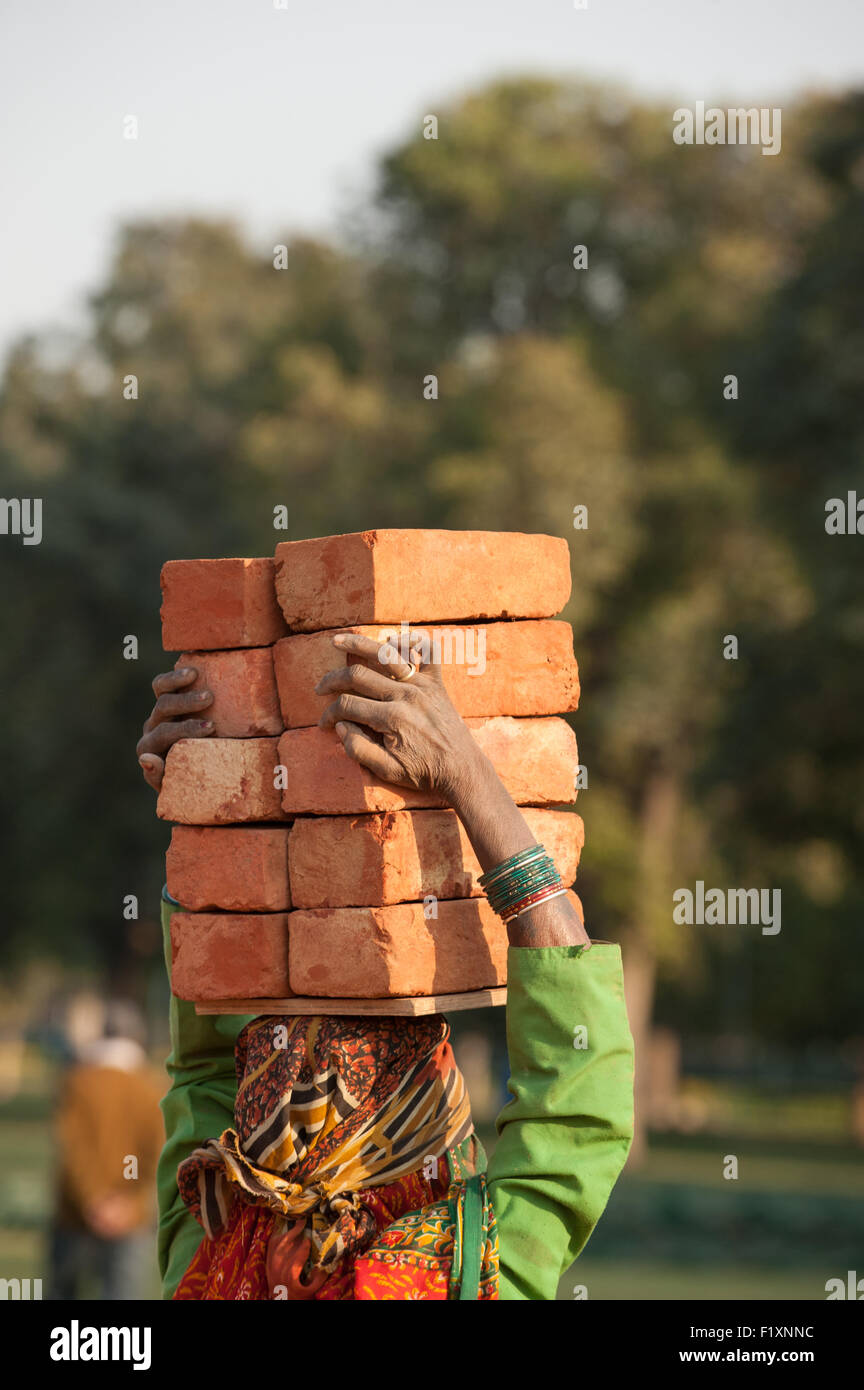 Delhi, India. Woman labourer carrying 10 ten bricks on her head. - Stock Image