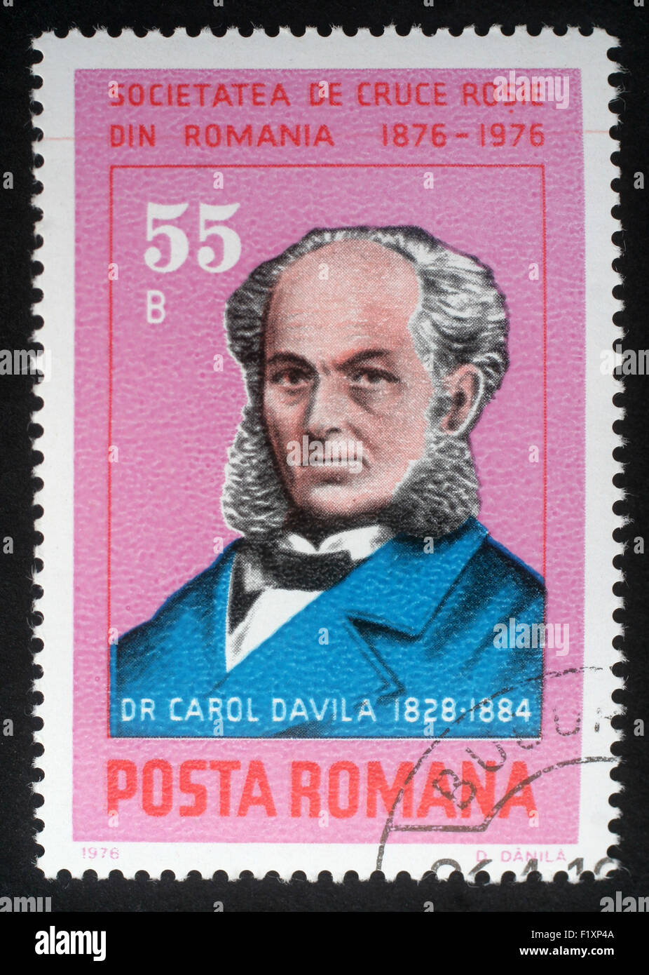 Stamp printed in Romania shows Dr. Carol Davila organizer of the country's public health system and Red Cross - Stock Image