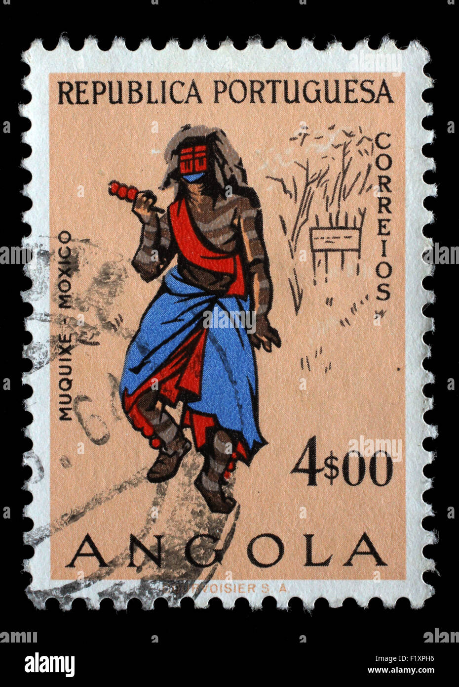 Stamp printed in the Angola shows Natives, Angolans Muquixe, circa 1957. - Stock Image