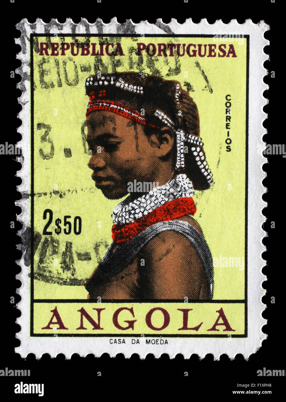 Stamp printed in the Angola shows Natives, Angolan Women, circa 1961. - Stock Image