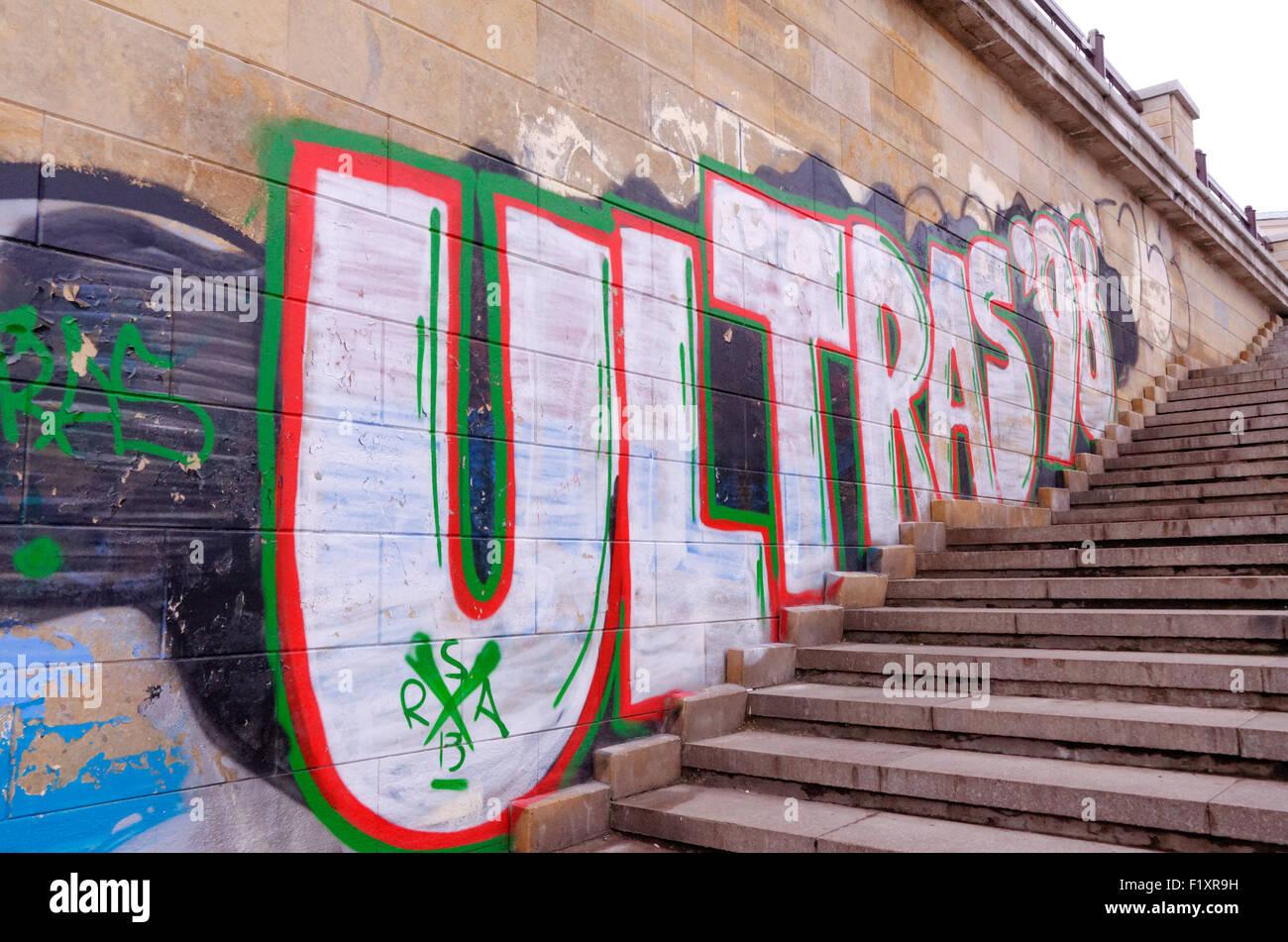 Russian ultras - graffiti promoting the violent football supporters in Russia, Kazan, Tatarstan - Stock Image