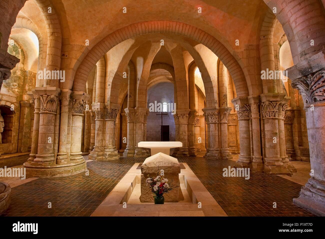 France, Charente Maritime, Saintes, Saint Eutrope basilica, the Crypt - Stock Image