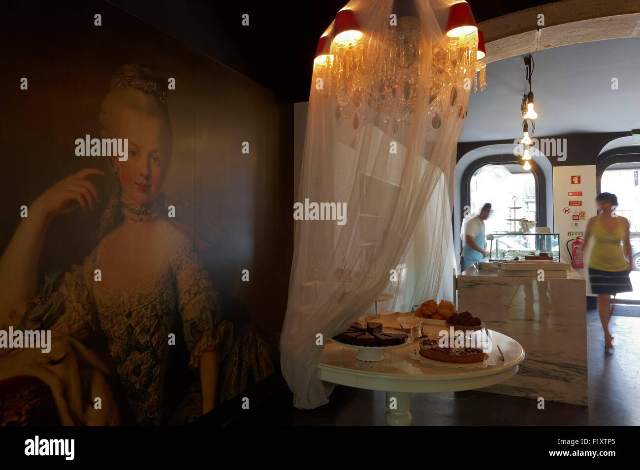 Portugal, Lisbon, tearoom Poison d'Amour, French pastries - Stock Image