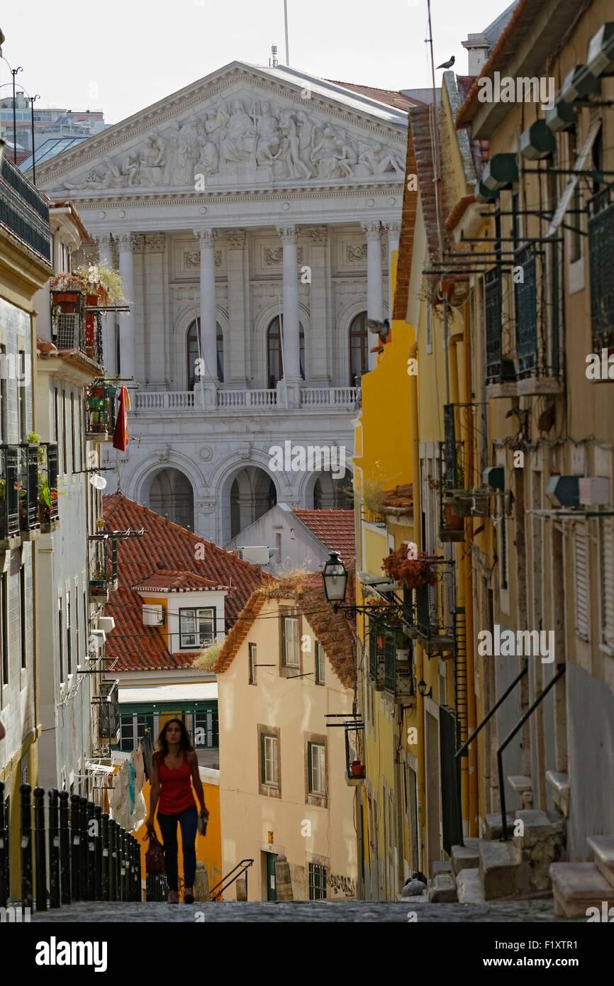 Portugal, Lisbon, Bairro Alto, the National Assembly (Palacio de Sao Bento) view from the da Academia das Ciencias - Stock Image