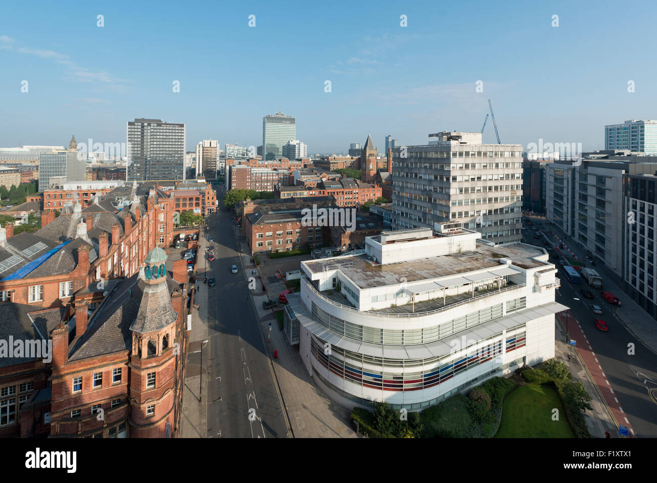 A shot of the city skyline of Manchester, UK, featuring various tall buildings and skyscrapers. - Stock Image