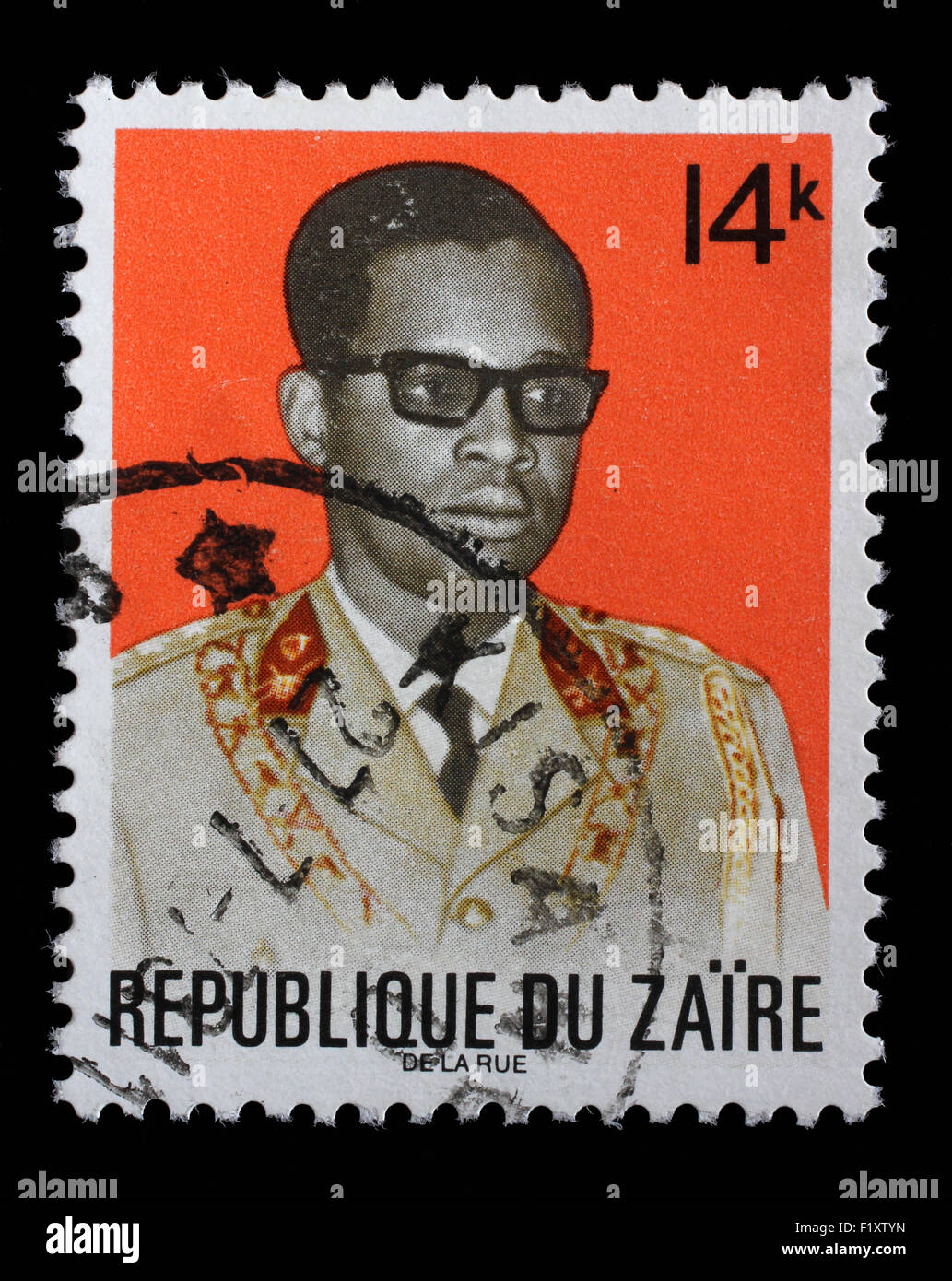 Stamp printed in the Zaire shows Joseph D. Mobutu, President of Zaire, 1965 - 1997, circa 1973 - Stock Image