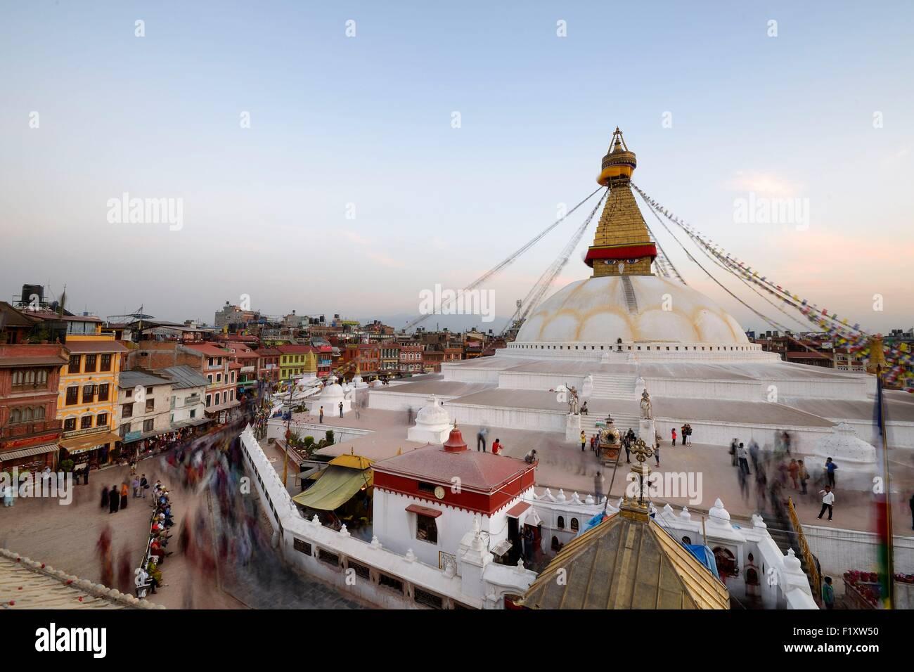 Nepal, Kathmandu valley, Bodnath listed as World Heritage by UNESCO, Bodnath stupa - Stock Image