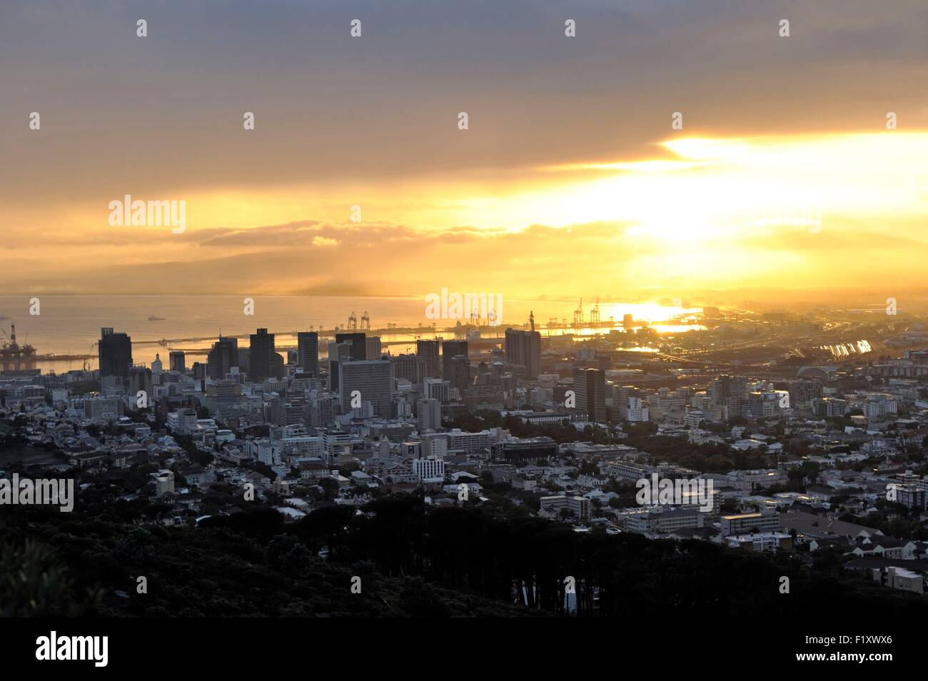 South Africa, Western Cape, Cape Town, sight since Signal Hill on the centre town and the port Stock Photo