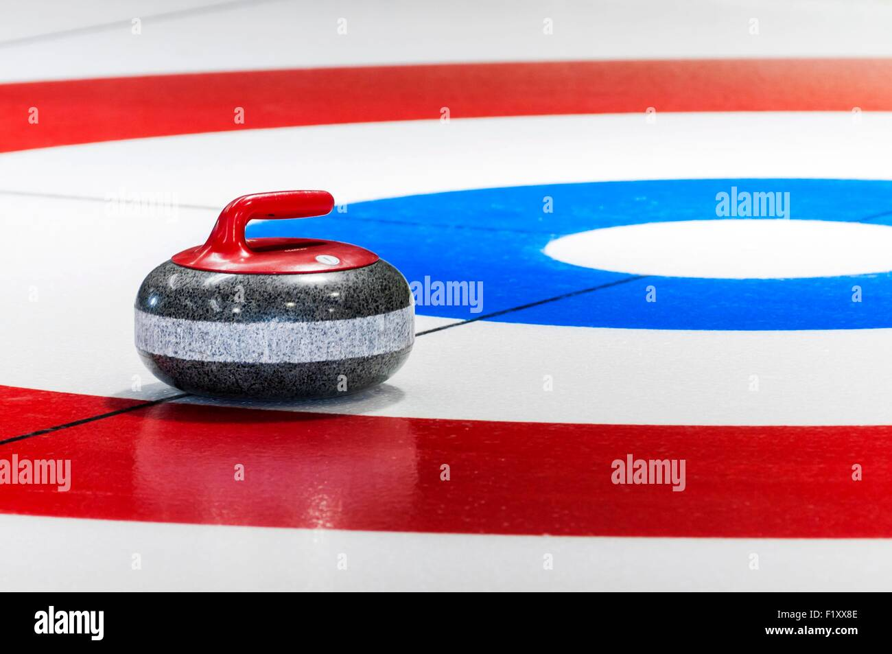 Canada, Quebec, Outaouais, curling ice skate at Montebello - Stock Image