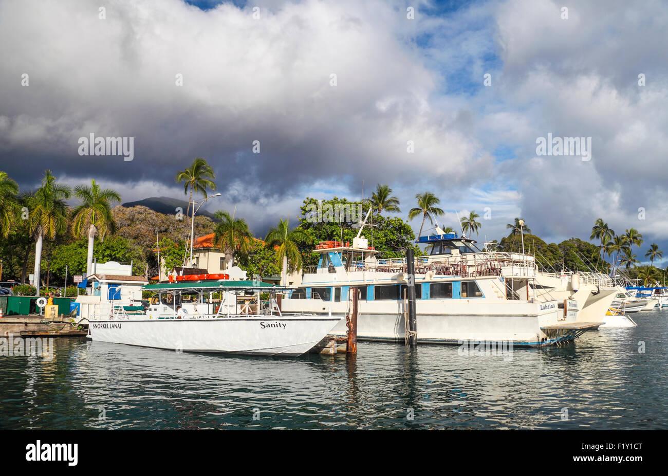 Boats docked in Lahaina, Maui - Stock Image