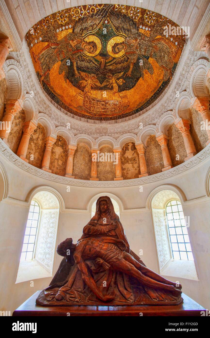 France, Loiret, Loire Valley, listed as World Heritage by UNESCO, Germigny des Pres, the Carolingian oratory or - Stock Image