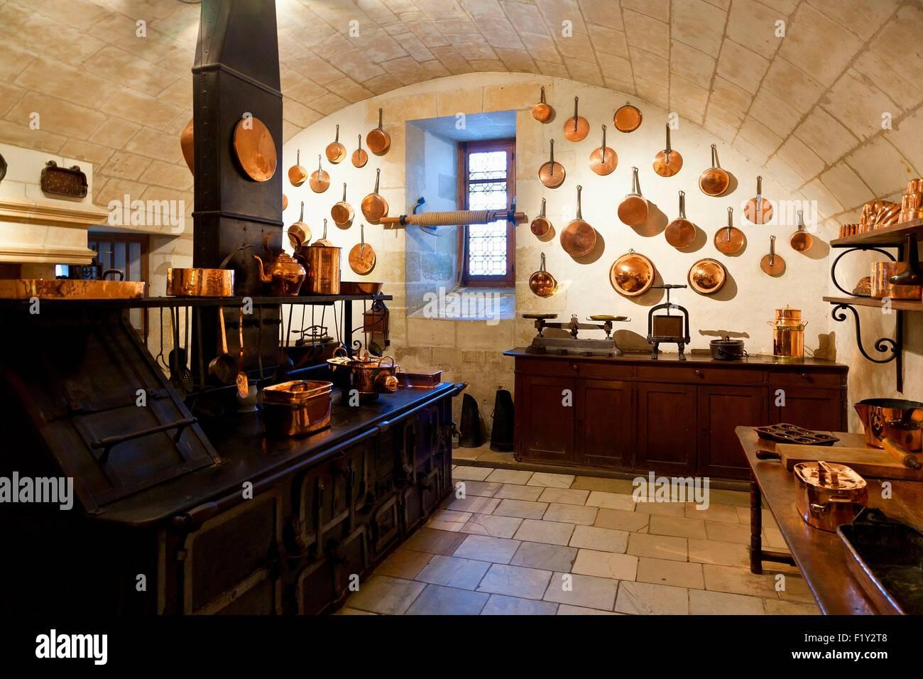 France, Indre et Loire, Chenonceau Castle, kitchens - Stock Image