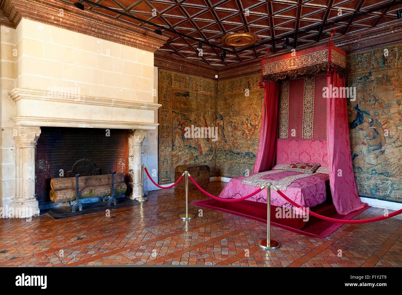 Exceptionnel France, Indre Et Loire, Chenonceau Castle, The Five Queenu0027s Bedroom   Stock  Image