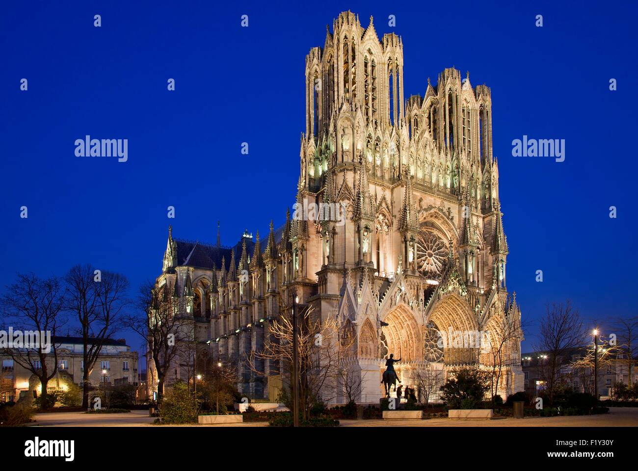 France, Marne, Reims, Notre Dame Cathedral listed as World Heritage by UNESCO - Stock Image