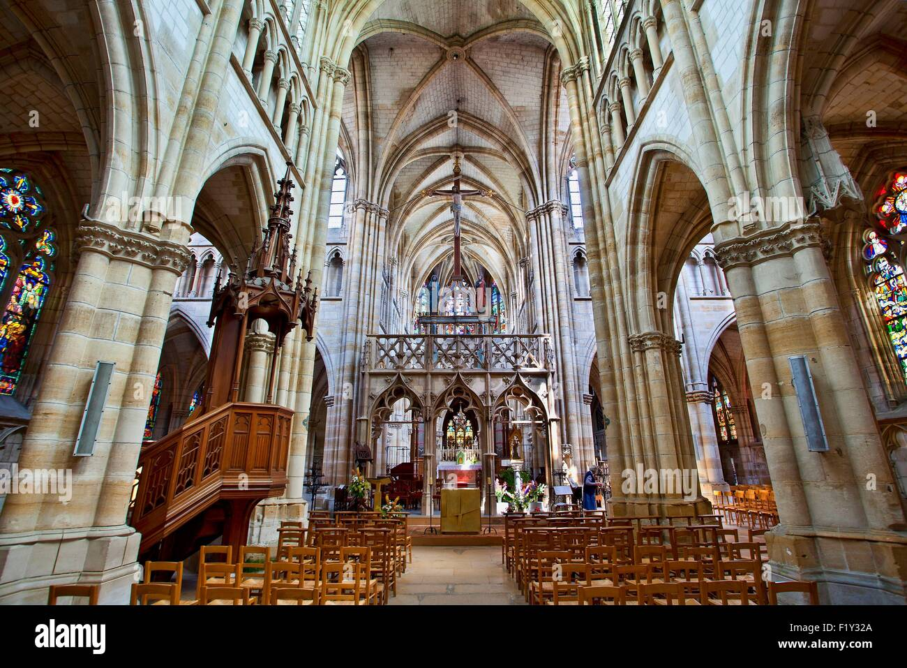 France, Marne, L'Epine, stop on the way of St James listed as World Heritage by UNESCO, Notre Dame basilica Stock Photo