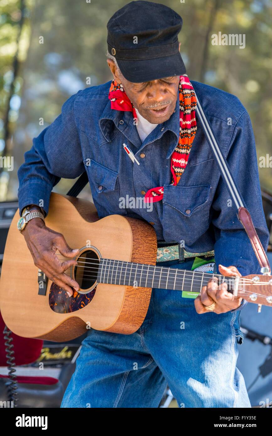 United States, Mississippi, Greenville, Mighty Mississippi Music festival, bluesman L.C. Ulmer - Stock Image