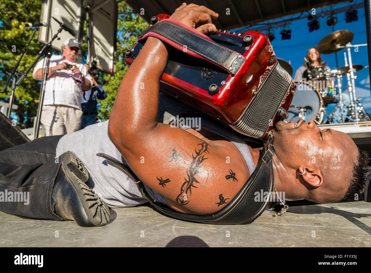 United States, Mississippi, Greenville, Mighty Mississippi Music festival, Dwayne Dopsie and the Zydeco Hellraisers - Stock Image