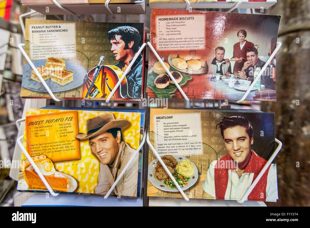 United States, Tennessee, Memphis, Beale Street, Postcards of Elvis Presley - Stock Image