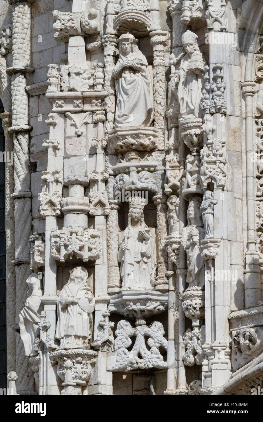 Portugal, Lisbon, district of Belem, Jeronimos Monastery (Mosteiro dos Jer≤nimos), listed as World heritage by UNESCO, - Stock Image