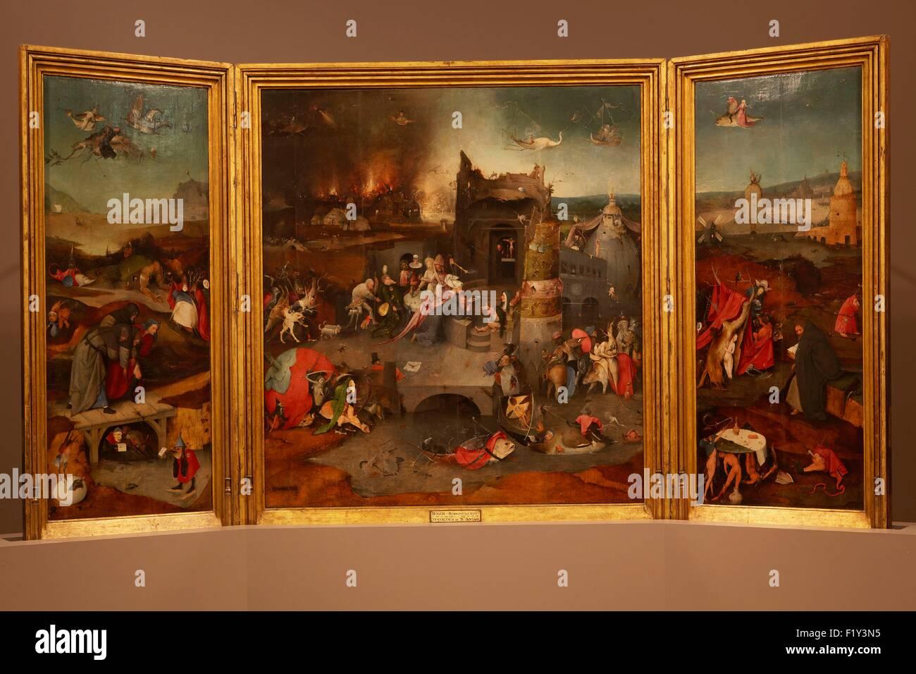 Portugal, Lisbon, Lapa, Museu National de Arte Antiga, Triptych of Temptation of St. Jerome by Hieronymus Bosch - Stock Image
