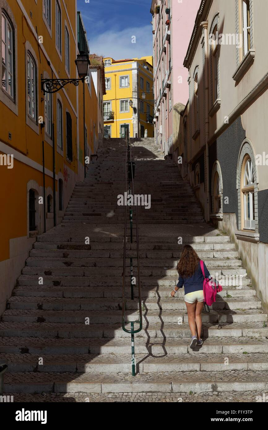 Portugal, Lisbon, Bairro Alto, the National Assembly area, da Academia das Ciencia street - Stock Image