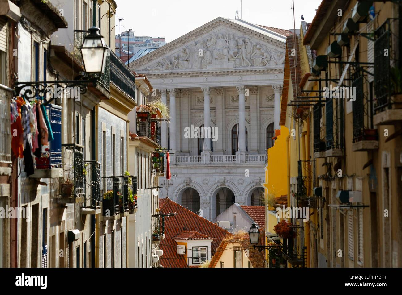 Portugal, Lisbon, Bairro Alto, the National Assembly (Palacio de Sao Bento) view from the da Academia das Ciencias - Stock Image