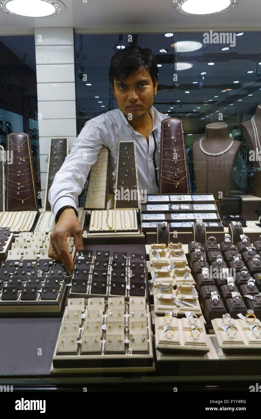 United Arab Emirates, Dubai, Al Quoz 1, Gold and Diamond Park, jewelry showcase - Stock Image