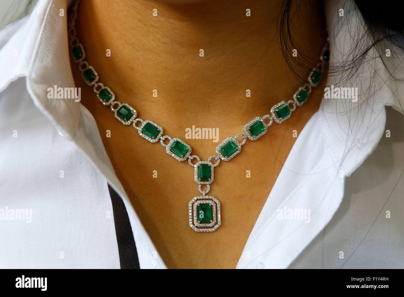 United Arab Emirates, Dubai, Al Quoz 1, Gold and Diamond Park, necklace with gemstones - Stock Image