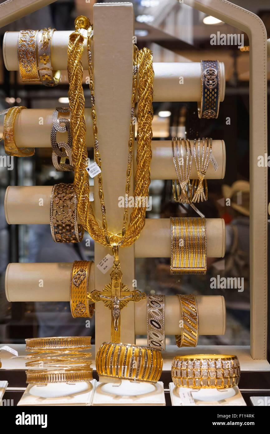 United Arab Emirates, Dubai, Deira, Gold Souk et Parfums Souk, jewelry showcase - Stock Image