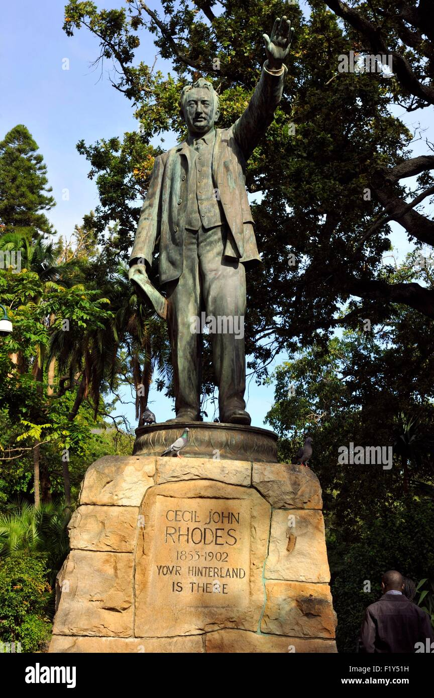 South Africa, Western Cape, Cape Town, City Bowl, Company's Gardens, Cecil John Rhodes statue Stock Photo