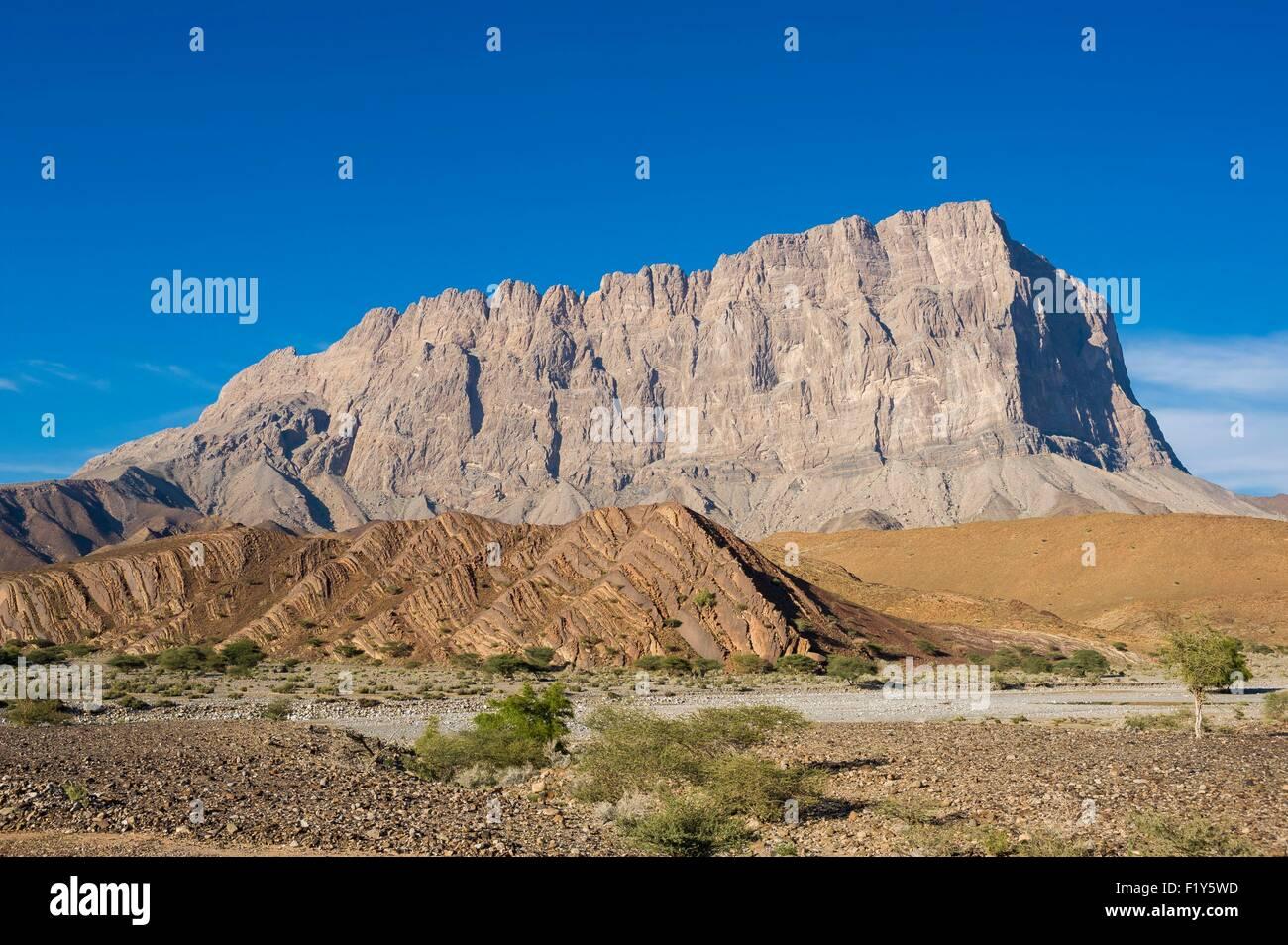 Oman, Ad-Dhakhiliyah, El Ayn, Djebel Misht, famous climbing spot - Stock Image