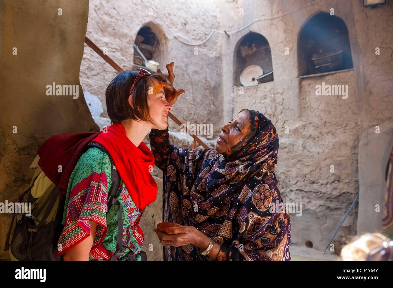 Oman, Djebel Akhdar, Al Hamra old village, ecomuseum of Bait al Safah, make up - Stock Image