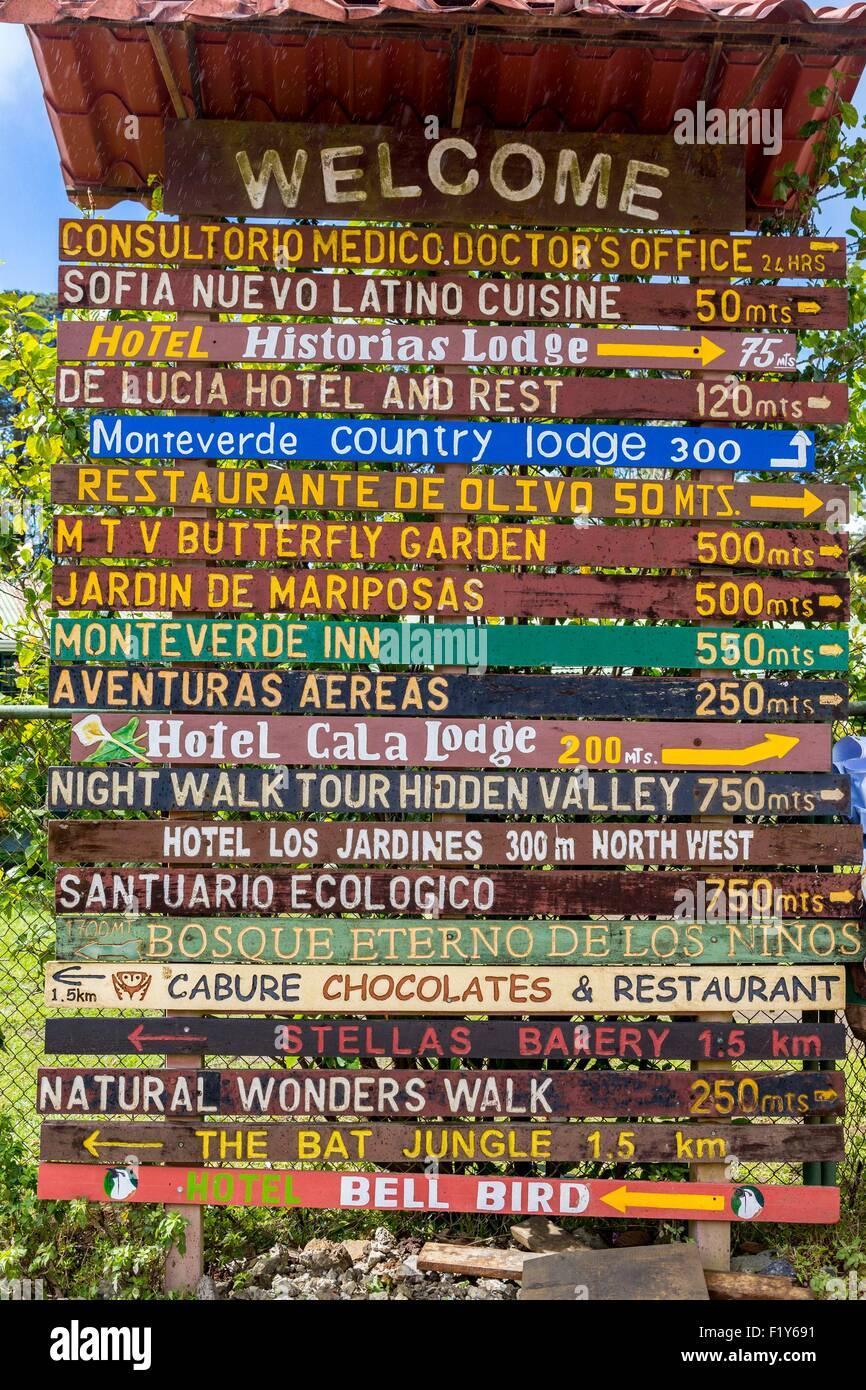 Costa Rica, Puntarenas province, Monteverde, signpost - Stock Image