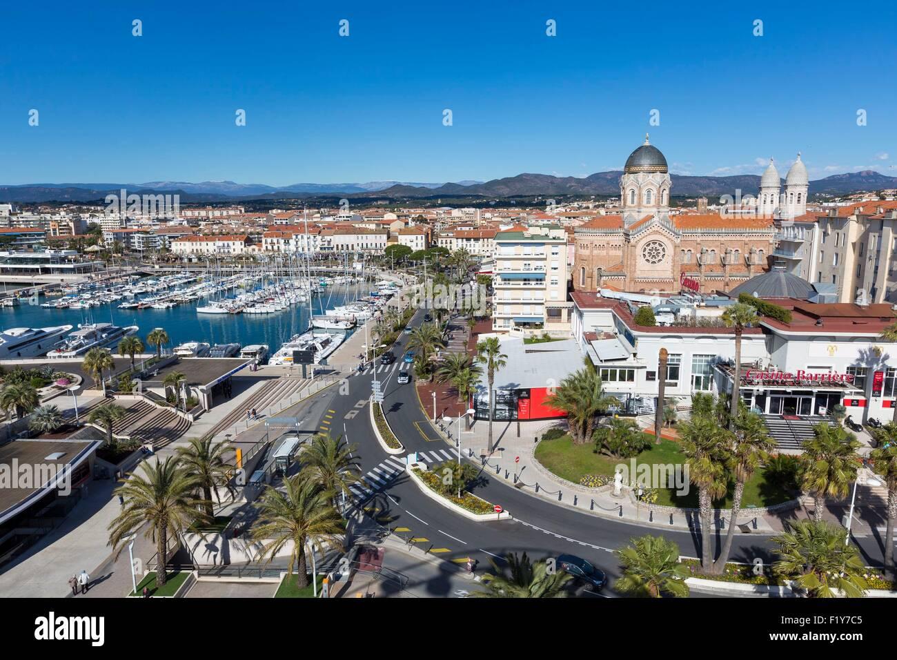France, Var, Saint Raphael, old harbour and Notre-Dame de la Victoire Stock Photo - Alamy