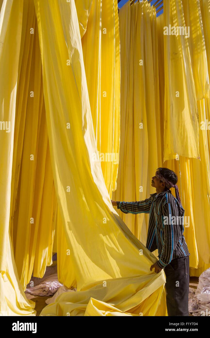 India, Rajasthan State, Sanganer, textile factory, collection of dry textiles - Stock Image