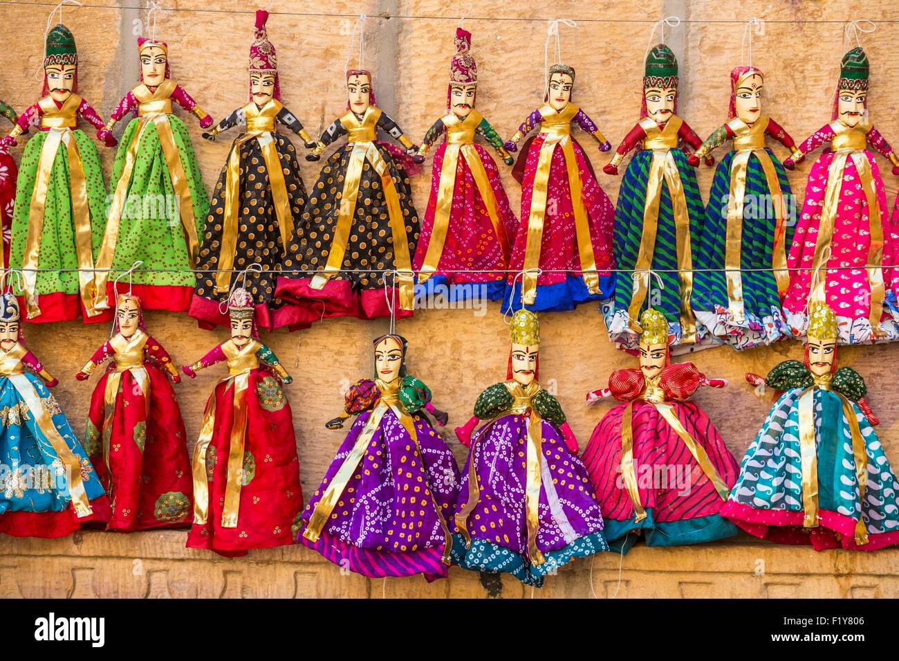 India, Rajasthan state, Jaisalmer, selling puppets - Stock Image