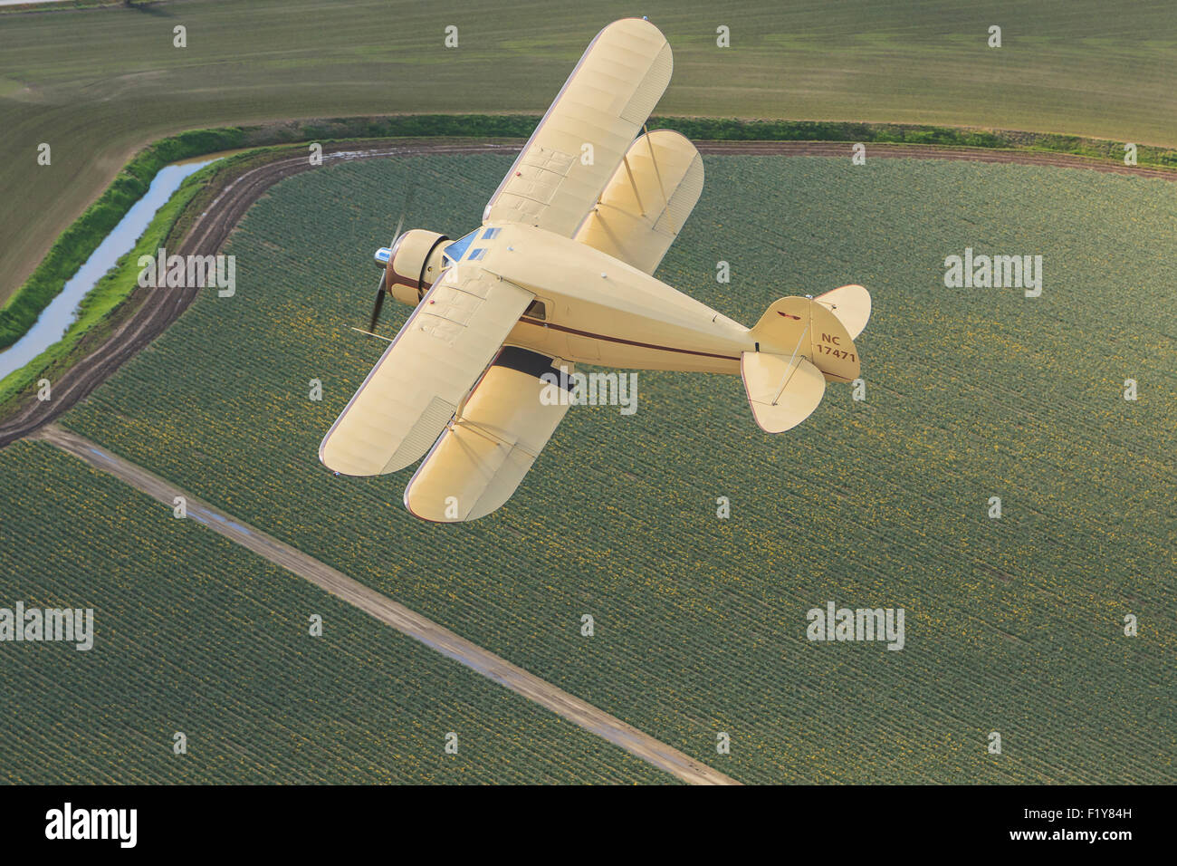 Flying,Aerial View,Biplane - Stock Image