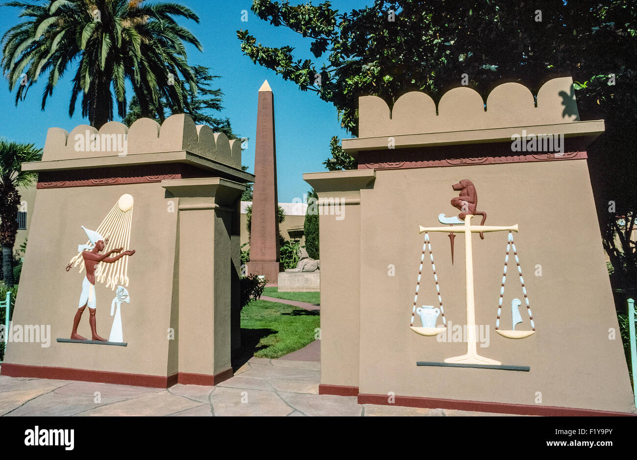 More than 4,000 artifacts from ancient Egypt can be found housed on these grounds in the Rosicrucian Egyptian Museum - Stock Image