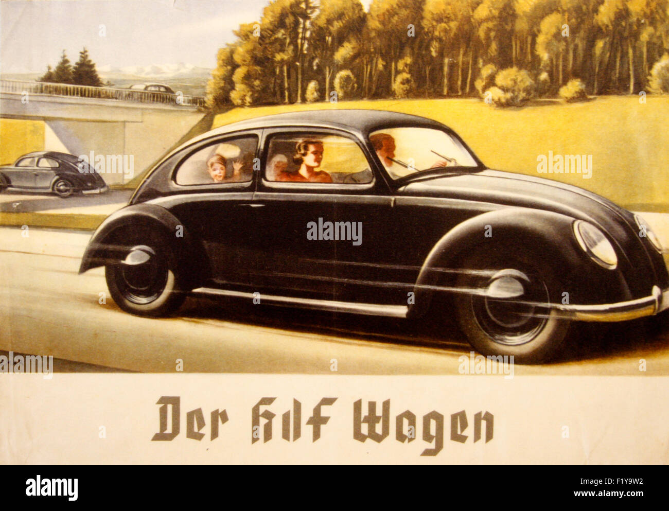 'der KDF-Wagen', Propaganda-Plakat des Dritten Reiches, Dokumentationszentrum Obersalzberg, Berchtesgaden, - Stock Image