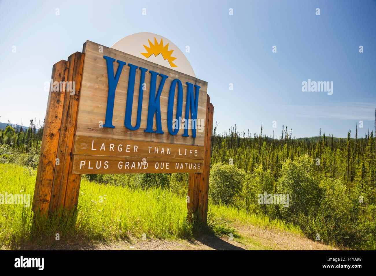 Sign,Canada,Alaska,Yukon - Stock Image