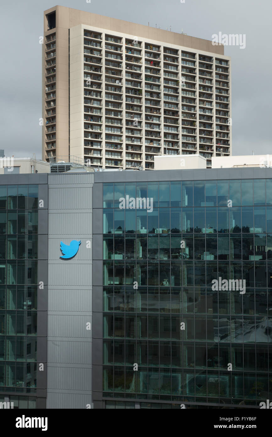 Twitter corporate headquarters San Francisco elevated view with sun on logo - Stock Image