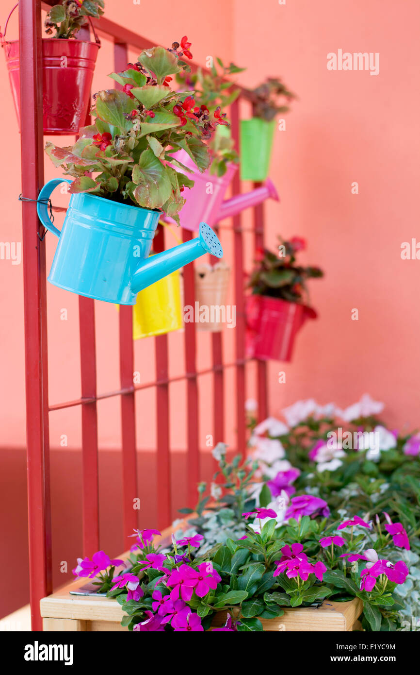 Beautiful colorful idea for small flower pots in home garden where ...