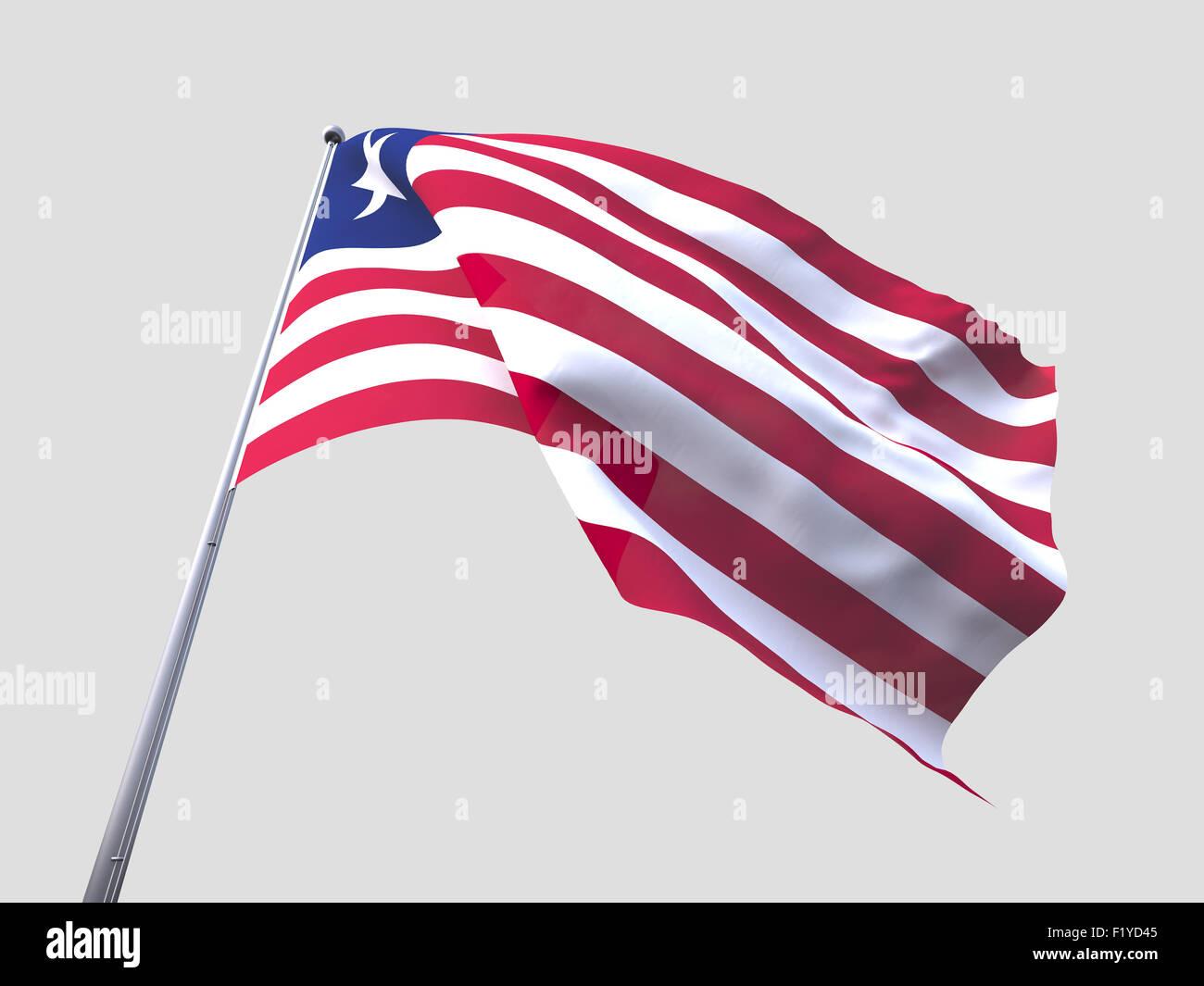 Liberia flying flag isolate on white background. - Stock Image