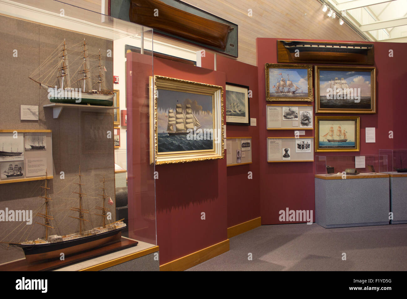 Maine Maritime Museum featuring the history of ship building, wooden vessels, and their explorations.  Bath, Maine - Stock Image