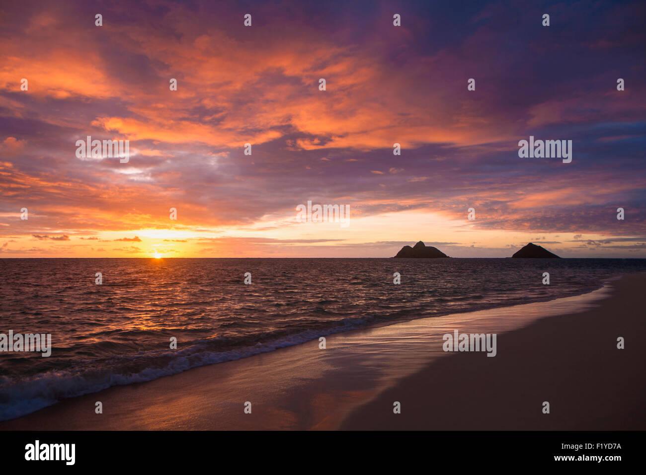 Beach Hawaii Lanikai Beach Sunrise Stock Photo 87269598 Alamy