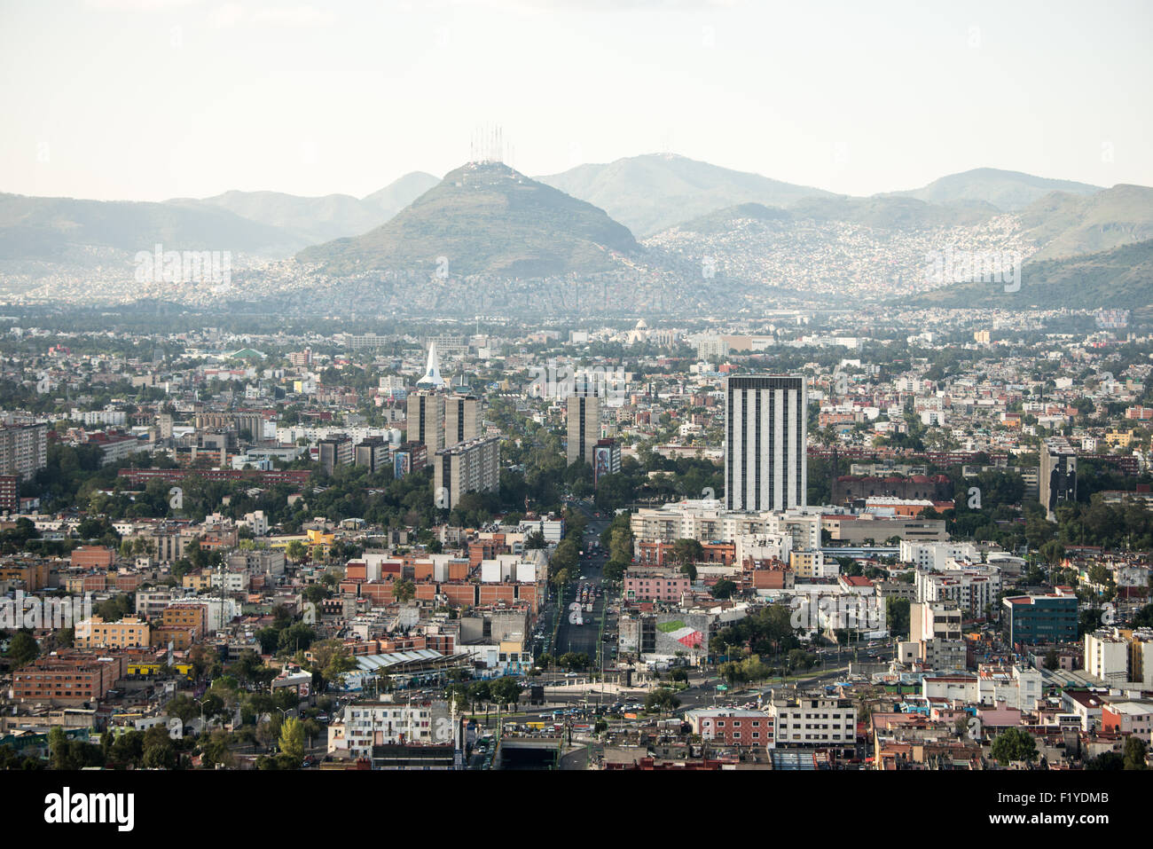 View of Mexico City from the 44th floor of the Torre Latinoamericana building. - Stock Image